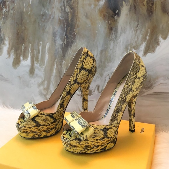 a7711738 Fendi Yellow Python Bow Peep Toe Heels 38.5